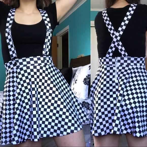 6c258b94a4 Hot Topic Skirts | Black And White Checkered Suspender Skater Skirt ...